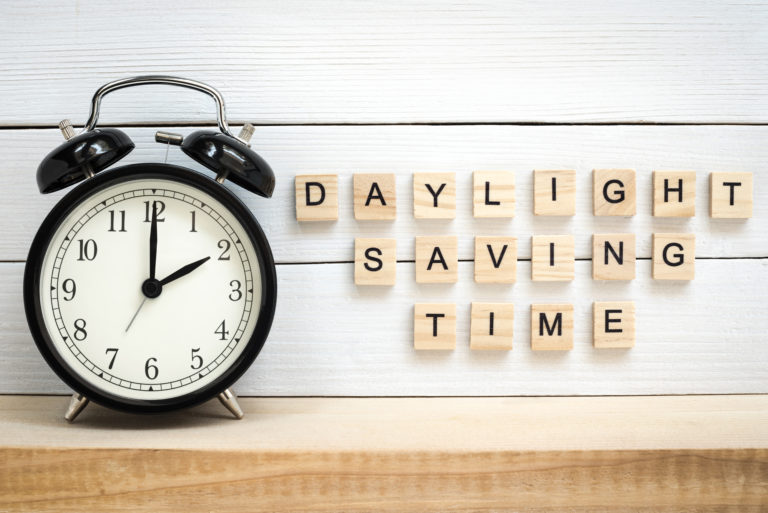 Clock with Daylight Saving Time Letter Blocks